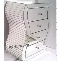S Shape Silver Mirrored Chest , 4 Drawers Mirrored Bedroom Dresser Wooden Base Manufactures