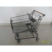 Metal Supermarket Shopping Carts With Handle Logo Printing And 4 Swivel Casters Manufactures