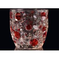 Home Decor Glass Candlestick Holders , Hobnail Dots Emboss Glass Candle Jar Manufactures
