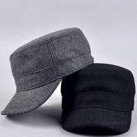 China Plain Flat Top Army Cap Custom Military Distressed Hats Fitted Strap Closure on sale