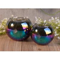 Ball Shape Decor Glass Tealight Holders , Iridescence Lantern Glass Candle Jar Manufactures