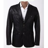 Black / Dark Red, Fashion 100% Viscose and Knitting Two Buttons Mens Leather Blazers Manufactures