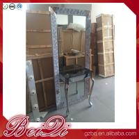 Dressing table with light mirror used beauty salon furniture gold frame hair salon station mirror Manufactures