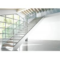 Double Side Plate Steel Structure Staircase Open Riser Indoor With Glass Railing Manufactures