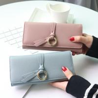 Metal Circle Belt Knot Womens Credit Card Holder Wallet, Multi Functional Students PU Leather Clutch Purse Manufactures