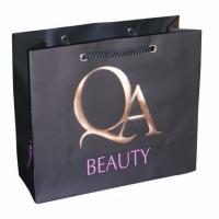 Gold Stamping 157gsm Black Personalized Paper Bag, Cosmetic Packaging Bags Manufactures