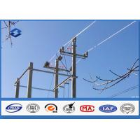 Overhead Transmission Line metal utility poles , ASTM A 123 Galvanized  steel post Manufactures