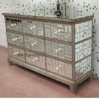 9 Drawers Mirrored Venetian Sideboard, Mosaic Storage Silver Mirrored Credenza Manufactures