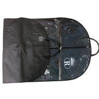 Raque Black 75g Unwoven Fabric PVC Cover Suit Garment Bag With Leather Handle, White Logo Manufactures