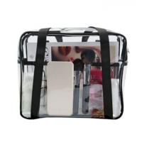 Ladies Clear PVC Handbags Waterproof Transparent With Customized Sewing Printing Manufactures