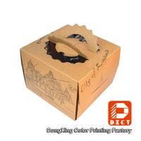 Brown Kraft Paper Cake Packaging Boxes , Recyclable Square Cake Boxes With Handles Manufactures
