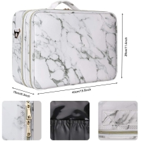 Marble PU Leather Cosmetic Brush Case For Travel Manufactures