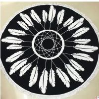 Aztec Hippie Black And White Round Towel Wrapped OEM Printing With Tassels Manufactures
