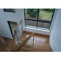Frameless Stainless Steel Glass Railing Handrail Modern Style With Wood Hand Rail Manufactures