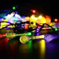 Quality 20LED Colorful Water-Drop Solar String Lights for Wedding Christmas Party Festival Outdoor Indoor Decoration for sale