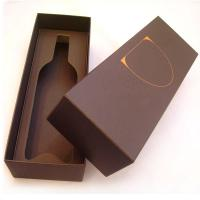 Brown 6 * 14 * 5 Inch 1200gsm Single Bottle Cardboard Wine Boxes Manufactures