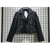 Black Textured Pleather Ladies PU Jacket Asymmertrical Zip Through For Women Manufactures