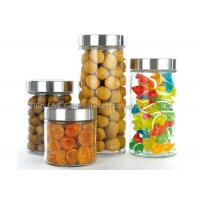 Houseware glass canisters with metal lids / clear glass kitchen canisters 2.1L 1.5L 1L 0.7L Manufactures