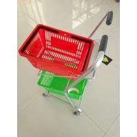 Super Market Shopping Basket Trolley , Flat Casters Double Basket Shopping Trolley Manufactures