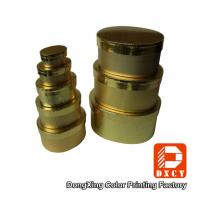 Quality Round Gold High Gloss Gift Boxes , Embossing Ellipse Shape Lid And Base Box for sale