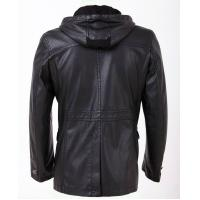 Warm and Personality, Designer Black / Dark Red / Yellow Hooded Leather Coat Manufactures