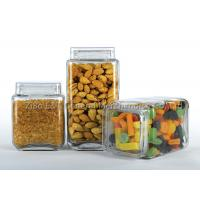 Three  pieces square glass canister set  with plastic lids  for food / glass kitchen storage containers Manufactures