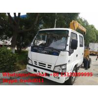 Quality ISUZU 4*2 double cabs 2.5tons XCMG telescopic boom mounted on truck for sale, best price ISUZU truck with XCMG crane for sale