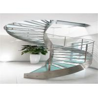 Residential Metal Spiral Staircase Stainless Steel Railing Laminated Glass Treads Manufactures