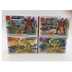 China Transformer Dinosaur Robot Plastic Interlocking Building Blocks 6 Styles for sale