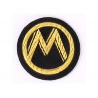 Round M Pattern Embroidered Letter Patches Gold Sew On Patches For Clothes Manufactures