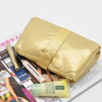 PVC Gold Travel Cosmetic Bags , Folding Cosmetic Bag For Traveling Manufactures