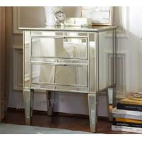 Hotel Mirrored Nightstand In Bedroom, CE Two Drawer Mirrored Bedside Table Manufactures