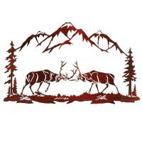 Battling Buck Nature Metal Wall Sculpture / Wall Decor Metal Sculpture Manufactures