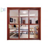 Quality Heat Transfer Aluminium Sliding Windows Wood Grain Color Customzied Size for sale