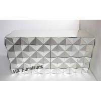 3D Faceted Mirrored Bedroom Chest With 8 Drawers Wooden Material Body Manufactures