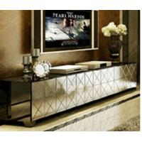 Silver Mirrored TV Stand Metal Hinge W200 * D40 * H42cm Size Durable Wood Manufactures