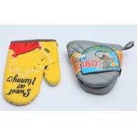 Colorful Fireproof Oven Mitts , High Temp Oven Mitts Thickened Plain Design Manufactures