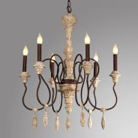French style wooden chandeliers hanging light for indoor lighting (WH-CI-65) Manufactures