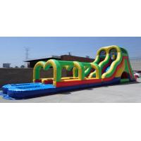 Quality Rainbow colors Giant adult inflatable water slide pool game with best material10 for sale