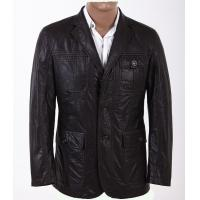 Buy cheap Custom Western Luxury, Two side pockets Black Fashionable Mens Leather Blazers from wholesalers