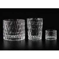 Dimpled Cylindrical Clear set of 3 glass candle holders for Candle Making Manufactures