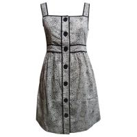 Quality Sleeveless knee lenght dress natural cotton clothing women with buttons for sale