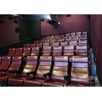 12 HZ Vibration Rate Comfortable Red Cinema Seats in Special Effects With Cup Holder Manufactures