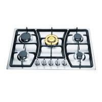 SS Panel 5 Burner Gas Hob Cast Iron Pan Supports / Copper Burner Cap Manufactures