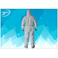 Buy cheap Anti - Acid White Disposable Coverall Suit Microporous Film Laminated Fabric from wholesalers