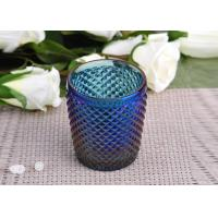 Machine Made navy blue glass cylinder candle holder Embossed Cross Line Manufactures