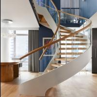 Modern Wooden Steel Curved Staircase Design Manufactures