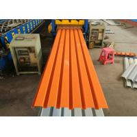 China Orange Color Powder Coated Corrugated Steel Roofing Sheets / Corrugated Metal Panels on sale