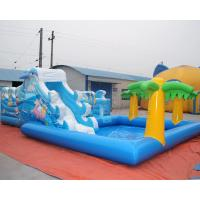 Sea world inflatable bouncy castle with water slide and palm tree swimming pool Manufactures