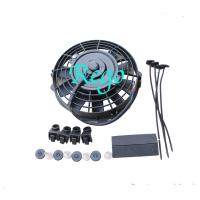 Low Power Consumption Universal Radiator Cooling Fan With Full Finger Guard Shroud Manufactures